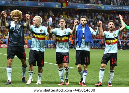 NICE, FRANCE - JUNE 22, 2016: Players of Belgium national football team thank their fans after the UEFA EURO 2016 game against Sweden at Allianz Riviera Stade de Nice, Nice, France. Belgium won 1-0 - stock photo