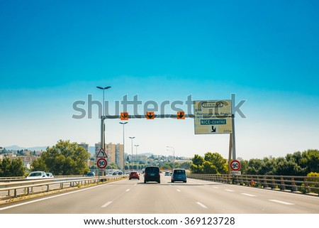 Nice, France - June 28, 2015: The movement of vehicles on freeway, motorway A8 near Nice, France - stock photo