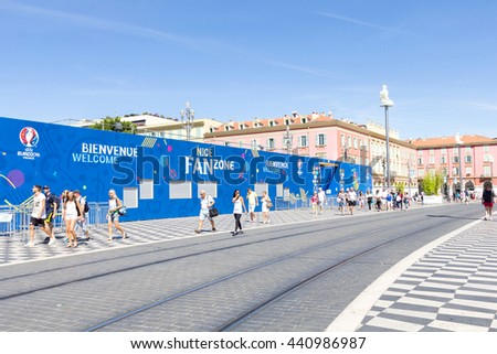 NICE, FRANCE - June 20, 2016: VIew of the fan zone for the Eurocup 2016 in the Place Massena. Nice is one of the ten cities where the matches are played during the Euro 2016.
