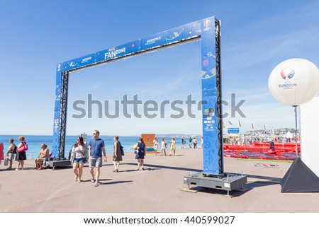NICE, FRANCE - June 20, 2016: VIew of the fan zone for the Eurocup 2016 in the Promenade des Anglais. Nice is one of the ten cities where the matches are played during the Euro 2016.