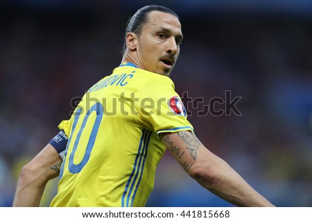 NICE, FRANCE - JUNE 22, 2016: Zlatan Ibrahimovic of Sweden in action during UEFA EURO 2016 game against Belgium at Allianz Riviera Stade de Nice, Nice, France. Belgium won 1-0 - stock photo