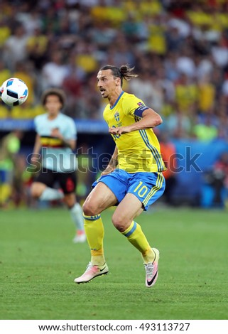 NICE, FRANCE - JUNE 22, 2016: Zlatan Ibrahimovic of Sweden in action during UEFA EURO 2016 game against Belgium at Allianz Riviera Stade de Nice, City of Nice, France