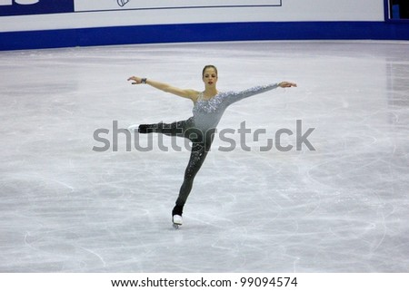 NICE, FRANCE - MARCH 31: ISU World Figure Skating Championships in Nice, France, March 31, 2012. Carolina Kostner (ITA), gold medal, during the Free Program - stock photo