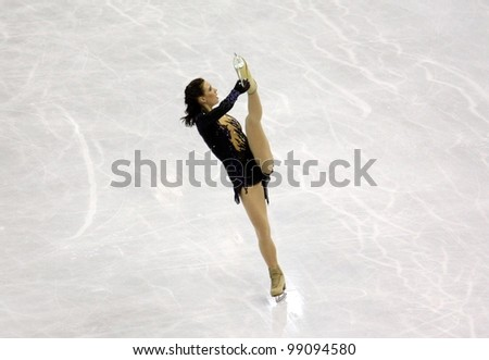 NICE, FRANCE - MARCH 31: ISU World Figure Skating Championships in Nice, France, March 31, 2012. Alena Leonova (RUS), silver medal, during the Free Program - stock photo