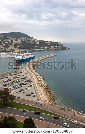NICE, FRANCE - MAY 5: Aerial view of the Port de Nice on May 5, 2013 in Nice, France. Port de Nice was started in 1745.