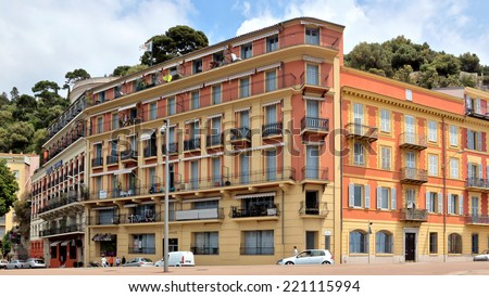 NICE, FRANCE - MAY 31: Architecture along Promenade des Anglais on May 31, 2014 in Nice, France. Promenade is a symbol of the Cote d'Azur and was built in 1830 at the expense of the British colony.