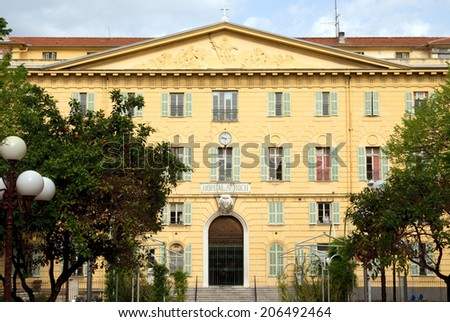 NICE, FRANCE - MAY 1: Fasade of Central Hospital on May 1, 2013 in Nice, France.