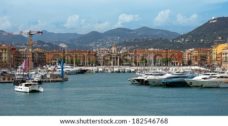 NICE, FRANCE - MAY 4: Panoramic view of Port de Nice on May 4, 2013 in Nice, France. Port de Nice was started in 1745.
