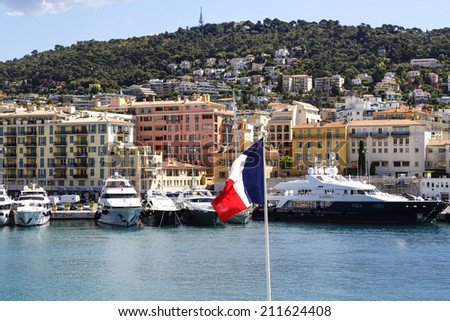 NICE, FRANCE - MAY 15, 2014: Port Lympia also called Old Harbor built on the outskirts of the city in 1750, with an area of 127,500 sqm at water level, acts as commercial port, marina and fishing port