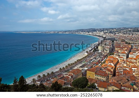 NICE, FRANCE - MAY 31, 2014: Promenade des Anglais and panoramic view of city of Nice, French Riviera, France.  - stock photo