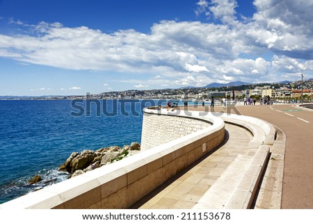 NICE, FRANCE - MAY 15, 2014: Quai Rauba Capeu, road section before the entrance to Port de Nice, its latest renovation awarded the Prix de Architecture 2004, in the urban renewal category