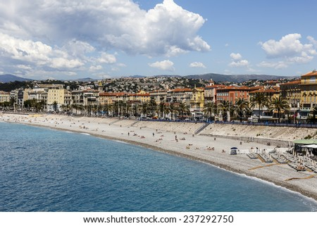NICE, FRANCE - MAY 15, 2014: The fifth most populous city in France, of about 1 million population extended beyond the administrative city limits  - stock photo