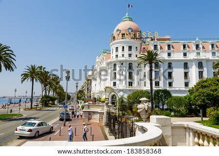 NICE, FRANCE - MAY 26, 2012: The Hotel Negresco, first opened in 1913 facing the Mediterranean sea, famous and luxury hotel offers 119 guest rooms and 22 suites  - stock photo