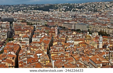 NICE, FRANCE - MAY 31, 2014: Wonderful panoramic view with colorful historical houses of the old city.