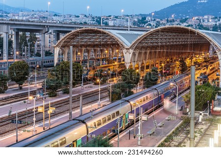 NICE, FRANCE - NOVEMBER 2, 2014: Railway Station at night - stock photo