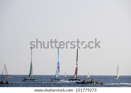 NICE, FRANCE - OCT. 5: second  day of cruises at the extreme 40 sailing competition, that has seen the victory of swiss team Alinghi on the 5th of october 2014 in Nice, France.