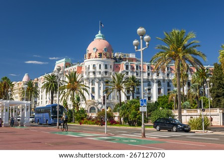 NICE, FRANCE - OCTOBER 2, 2014: Hotel Negresco on the English promenade (Promenade des Anglais) is one of the famous landmarks of the city. - stock photo
