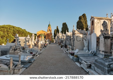 NICE, FRANCE - OCTOBER 29, 2014: Old Chateau Cemetery on Castle Hill - stock photo