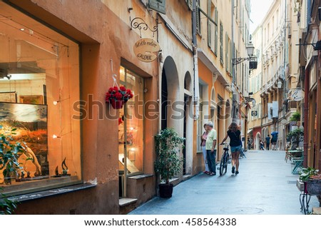 Nice, France - October 28, 2015: Typical street in Nice, France