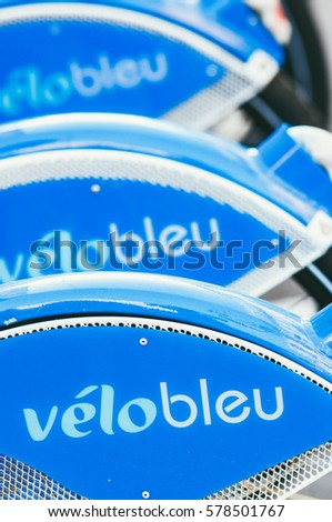 NICE,FRANCE-OCTOBER,15: VELOBLUE renting bike system is active on the 15th of october 2010 in Nice, France