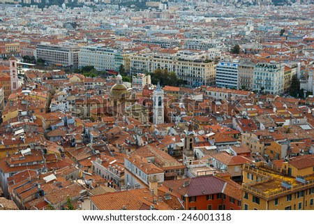 Nice, France, Old Town Vieille Ville  view from the top - stock photo