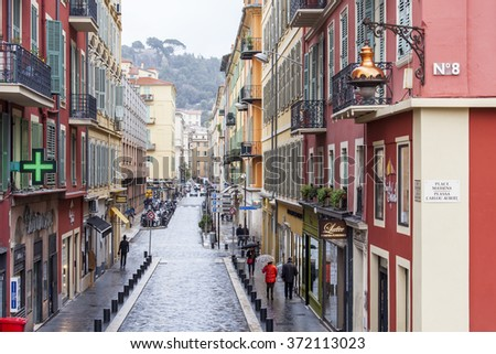 NICE, FRANCE - on JANUARY 11, 2016. A typical urban view in rainy weather.