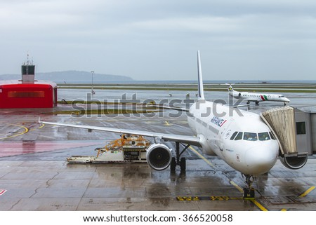 NICE, FRANCE - on JANUARY 14, 2016. Preflight service of the plane of AirFrance airline at the airport of French riviera