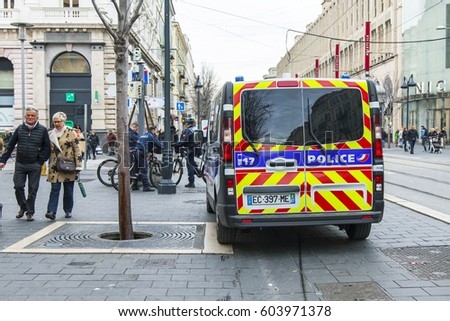 NICE, FRANCE, on JANUARY 12, 2017. The police car stopped on Jean Madsen's avenue