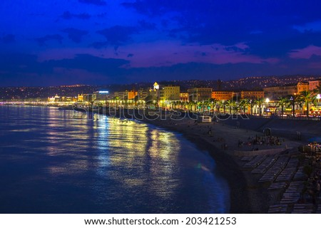Nice, France, on July 6, 2011. English promenade (Promenade des Anglais) at night. Promenade des Anglais in Nice - one of the most beautiful and known embankments in Europe