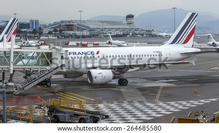 Nice, France, on March 14, 2015. Land service of the plane of AirFrance airline at the Cote d Azur airport - stock photo