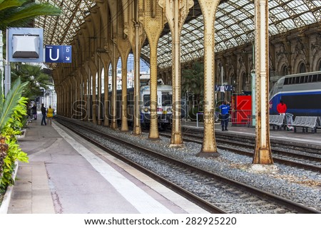 Nice, France, on March 10, 2015. Platforms of the city station - stock photo