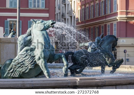 Nice, France, on March 9, 2015. sculpture fragment of the fountain on Victor Massena Square