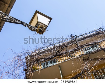 Nice, France, on March 13, 2015. The old city, typical architectural details in Provencal style - stock photo