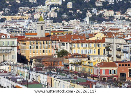 Nice, France, on March 7, 2015. The top view on the old city from Shatto's hill
