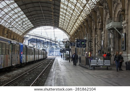 Nice, France, on March 12, 2015. The train costs at the platform of the city station - stock photo