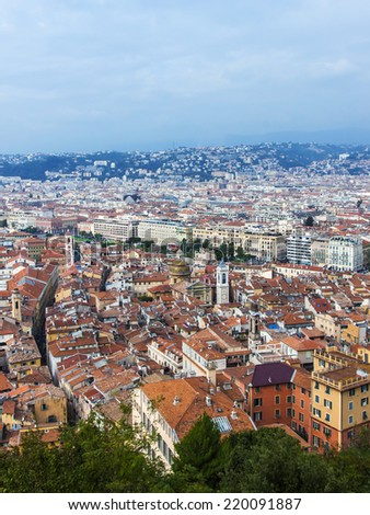 Nice, France, on October 16, 2012. View of the city from a high point. Red roofs of the old city