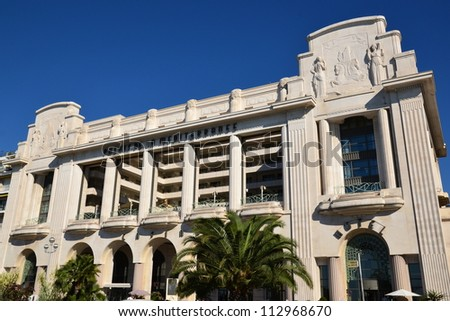 NICE, FRANCE - SEPTEMBER 15: Mediterranean Palace Hotel facade shown on September 15, 2012 in Nice, France. Mediterranean Palace hotel containing 187 rooms and 14 suites, on the Englismen Walkway. - stock photo