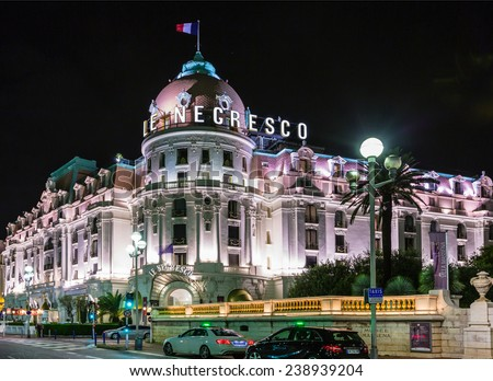 NICE, FRANCE - SEPTEMBER 06, 2014: Negresco palace facade Nice, France. Negresco hotel is a luxury hotel containing 121 rooms and 24 suites, located in the famous carnival town.
