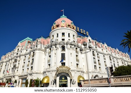 NICE,FRANCE-SEPTEMBER 15: Negresco palace facade shown on september 15, 2012 in Nice, France. Negresco hotel is a luxury hotel containing 121 rooms and 24 suites, located in the famous carnival town. - stock photo