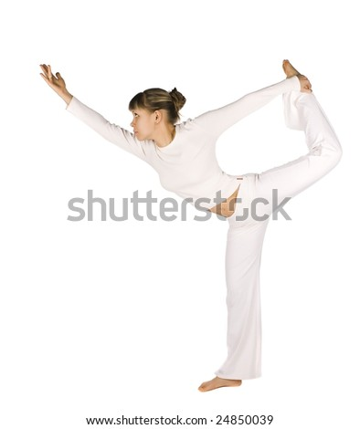 Nice girl is stretching over white