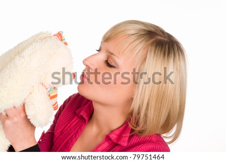 nice girl playing with toy on a white