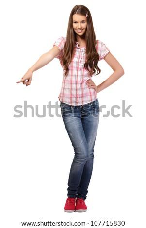 nice girl posing in studio - stock photo