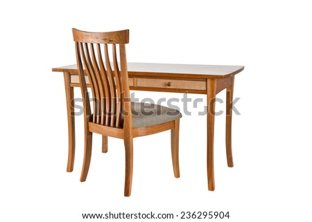 Nice handmade wooden chair and desk on white background - stock photo