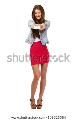 nice happy woman posing with card on white background - stock photo
