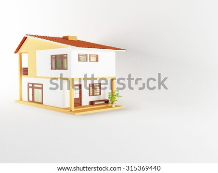 nice house with big windows, 3d rendering