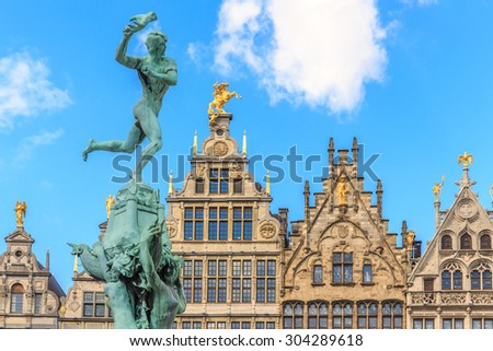 Nice houses in the old town of Antwerp, Belgium - stock photo