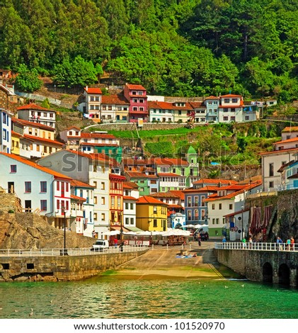 Nice houses in the old town of Cudillero, Spain
