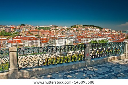Nice houses in the old town of Lisbon, Portugal - stock photo