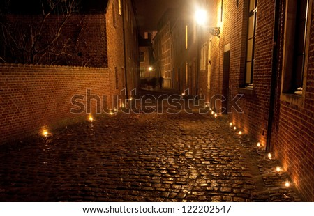Nice houses in the old town of the city in Lueven at night