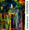 Nice Image of a Abstract original oil painting on canvas - stock photo